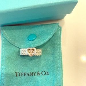 Tiffany & Co sterling silver mesh ring with heart